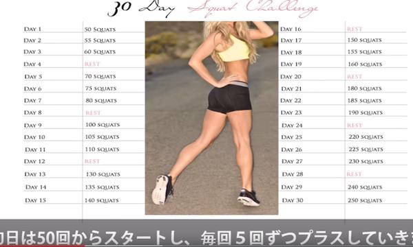 30日で激変!痩せる筋トレ30日スクワットチャレンジ!脚とヒップのトレーニングの中で最高のエクササイズ!